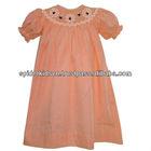 Baby Girl Orange Gingham Smocked Spider Bishop Dress