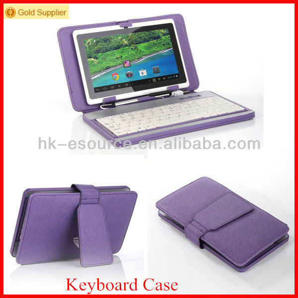 7 inch tablet PU leather keyboard cover with polycarbonate panel