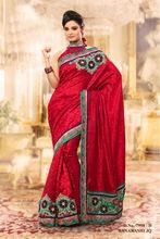 Beautiful Embroidered Red Banarasi Silk Saree