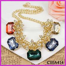Europe design elegant square gemstone charm gold rose necklace aliexpress