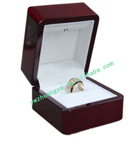 Hot sale wooden engagement ring box led light, jewelry boxes ring holders, ring gift box
