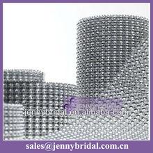 WR001A wedding table skirt decoration, mesh silver diamond ribbon wrap