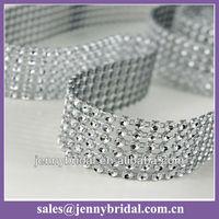 WR004A wedding table cloth decoration, silver mesh wrap, mesh rhinestone ribbon wrap