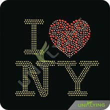 I love N.Y. love hotfix rhinestone motif