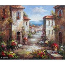100% Handmade impressionist landscape art Italian Sea Island Flowers Town Oil Painting
