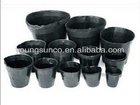black plastic flower nursery pots