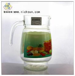 glass juq 1.4L transparent silk effect curtains drinking glass pitcher Heat transfer effect Fruit green background