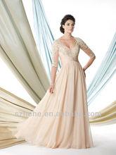 Free Shipping!!! CY548 Graceful a line queen ann neckline chiffon evening dress sleeves applique
