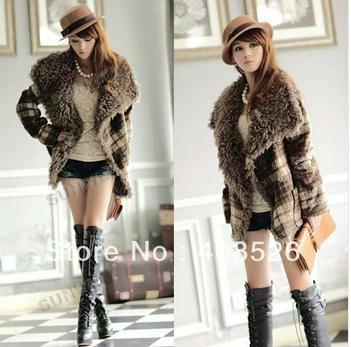 2013 Casual Women's Warm Winter Circle Fur Collar Woolen Short Coat Jacket Grid Outwear M,L 9553