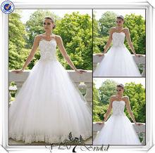 Jj3351 hermosa del cordón del vestido a medida vestido sin mangas de cenicienta vestido de novia para mujeres gordas 2014
