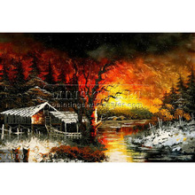 Handmade Beautiful Landscape Art garden oil painting, Fishing Lodge