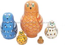 Babooshka doll, Owls Little Family Nesting Dolls | russiandollsandtoys.com