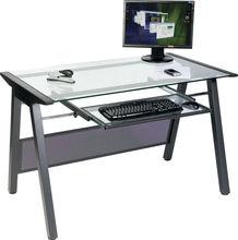 Glass Computer Desk Metal Leg PC Workstation LZ-1362