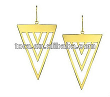 triple triangle drop earrings alloy with fashionable gold color material for earring making