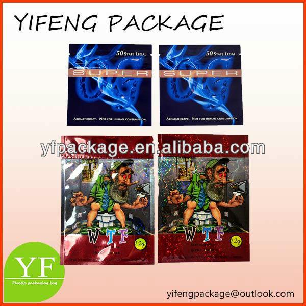 legal herbal incense bag manufacture/low price zipper plastic bag