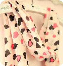 F70018K Han edition new winter joker sweet lady long love hearts chiffon scarves