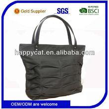 Fashion Canvas Plain Black Tote Bag Leather Handles For Lady