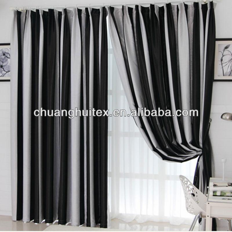 Europeo blackout cortina de ventana por negro y blanco a - Cortinas en blanco y negro ...