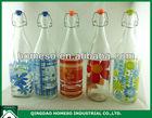 1 liter 32oz glass water milk juice swing top bottles