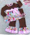 yeni varış çocuk kız hayvan safari örgü tişört üst fırfır pantolon kıyafet seti Toddler özel butik kız sonbahar kıyafetler çiçek kıyafet