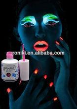 soak off Glow in dark nail gel with shinning light