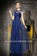 CW577 Graceful see through cap sleeve A Line long chiffon design new fashion prom dresses evening gown