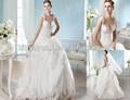 Spt-539 Cap- senza maniche corpo trasparente cascata abito da sposa abito da ballo
