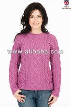 Pure British Wool - Ladies Aran Jumper - Made in the UK