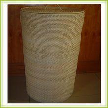 Round rattan pop up laundry hamper