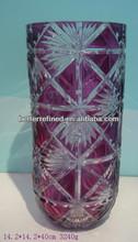 crystal glass purple flower vase