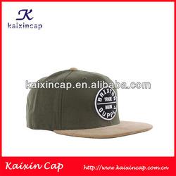 Custom OEM 5/6 panel flat brim snapback cap suede flat snapback hat