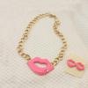 China Manufacturer Fashion Jewelry Gold Chunky Chain Sexy Lip Necklace/Jewelry Set