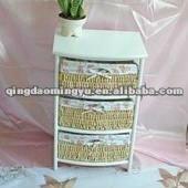 three basket laid white wood frame cabinet