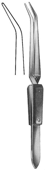 Soldering Tweezers, 16 cm, (Bacolite Handle), Curved