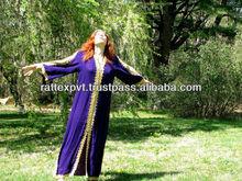 Vintage Moroccan Kaftan royal purple cotton velvet and gold embroidery robe hollywood regency tribal bohemian 2013