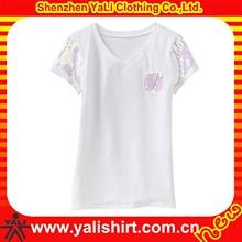 New pocket design cheap v-neck beaded short sleeve plain white t-shirts for girls children