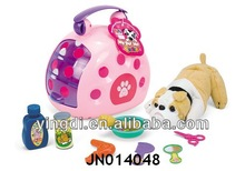 Pet set plastic toy Dog house play set baby plush cat pet house toy Hot Selling Lovely Plush Dog and House Animal Toy