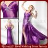 MA4601 Popular Design New Imitated Silk Slit Floor Length Evening Dress Halter