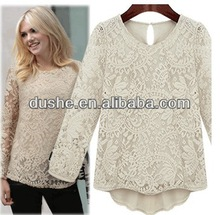 U'SAKE 2014 new arrival long sleeve women lace blouse