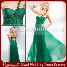MA4614 New Graceful One Shoulder Spaghetti Strap See Through Chiffon Simple Green Evening Dress