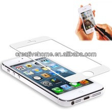 0.4mm Tempered Glass Screen Guard / Protective Skin with 1 x Button Sticker for iPhone 5 & 5S