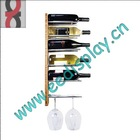 Bamboo wall grape wine bottle and wine glass holder/shelf