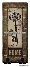 Antique key design wood wall decorative hooks