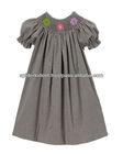Baby Girl Brown Gingham Smocked Flower Bishop Dress