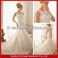 Wd-2158 sobreposição de renda bruta em forma e flare modesto mangas do vestido de casamento celtic vestidos de noiva