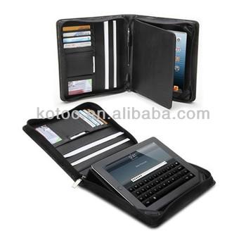 PU leather padfolio for ipad 2/3/4 cases