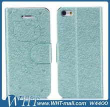 For iPhone 5S 5 Leather Case Cover with Engraved Hello Kitty Design