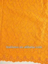 2013 high quality cotton lace fabric, new arrival cotton lace p2713 orange