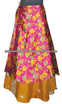 Floral Print Silk Sari Reversible two Layer long Wrap round Skirt Jaipur India