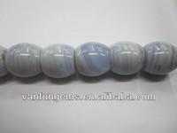 Natural gemstone barrel blue lace agate